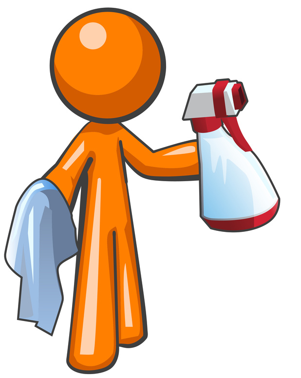 Orange Man Sanitation Worker Spray Bottle and Cloth